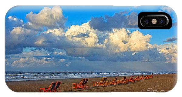 Beach And Chairs With Cloudy Sky IPhone Case