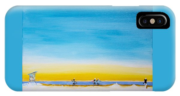 IPhone Case featuring the painting Surfers On The Beach by Ben Gertsberg