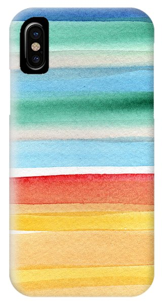 Aqua iPhone Case - Beach Blanket- Colorful Abstract Painting by Linda Woods