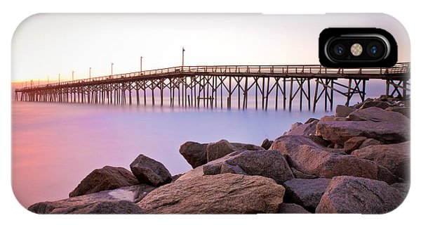 Beach Fishing Pier And Rocks At Sunrise IPhone Case