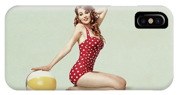 Red Hair iPhone X Case - Beach Pin Up by Bart Peeters