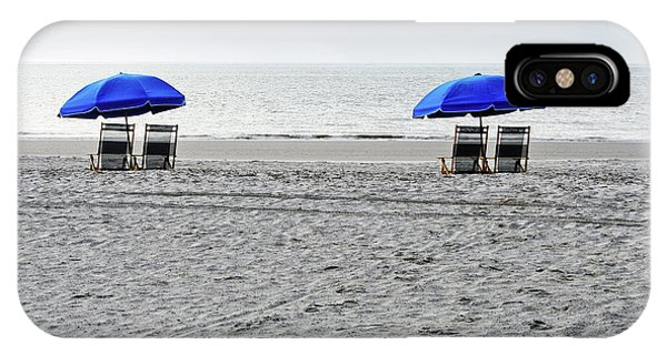 Beach Umbrellas On A Cloudy Day IPhone Case