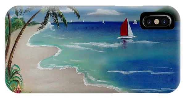Beach With Sailboat IPhone Case