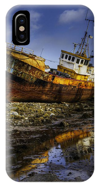 Beached Fishing Trawler Reflecting While Waiting For The Tide IPhone Case