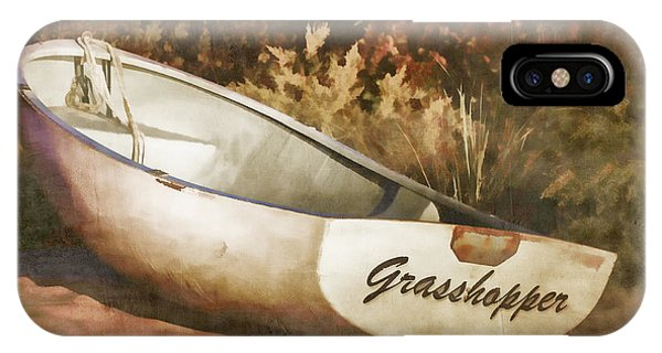 Grasshopper iPhone Case - Beached Rowboat by Carol Leigh