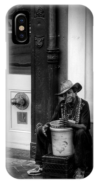 Beads And Bucket In New Orleans In Black And White IPhone Case