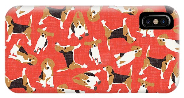 Beagle Scatter Coral Red IPhone Case