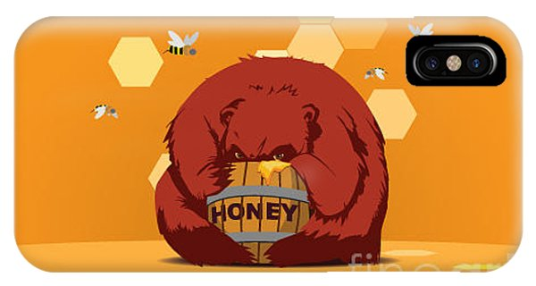 Humor iPhone Case - Bear Eats Honey From Barrel Against by Funhare
