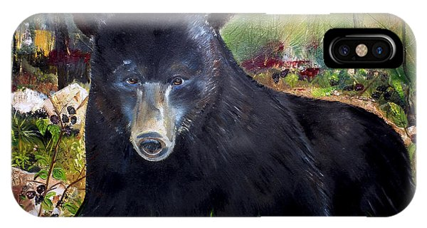 Bear Painting - Blackberry Patch - Wildlife IPhone Case