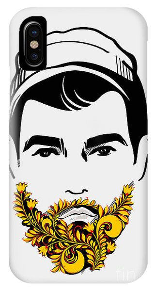 Funny iPhone Case - Beard And Mustache Man. Traditional by Pevuna