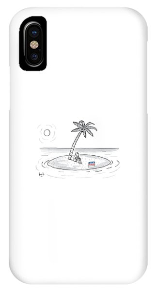 Election iPhone Case - Bearded Man Sits On A Deserted Island. A Campaign by Bob Eckstein