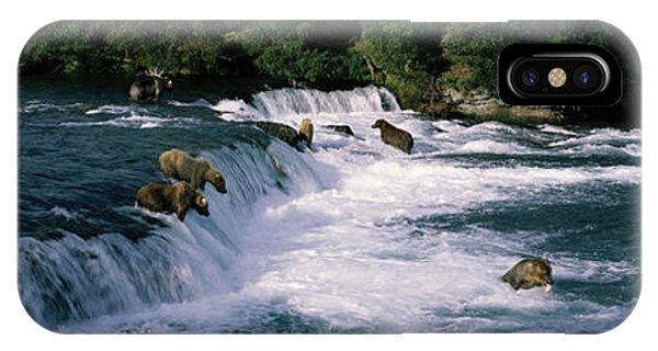 Bear Creek iPhone Case - Bears Fish Brooks Fall Katmai Ak by Panoramic Images