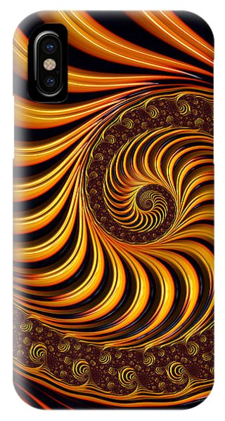 Abstract Digital iPhone Case - Beautiful Golden Fractal Spiral Artwork  by Matthias Hauser