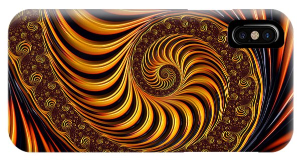 Beautiful Golden Fractal Spiral Artwork  IPhone Case