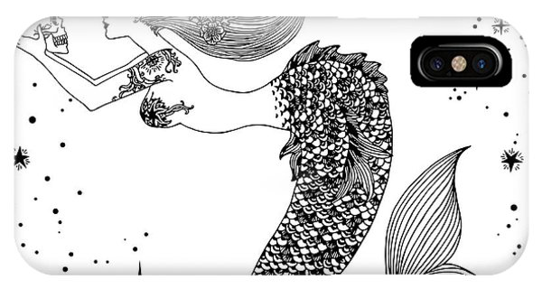 Mythology iPhone Case - Beautiful Mermaid With Human Skull In by Anastasia Mazeina