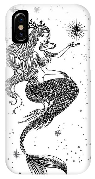Adult iPhone Case - Beautiful Mermaid With Star In Her by Anastasia Mazeina