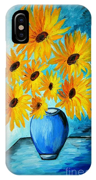 Beautiful Sunflowers In Blue Vase IPhone Case