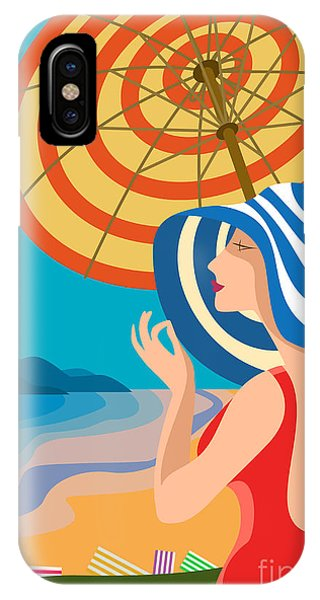 French Landscape iPhone Case - Beautiful Woman In A Wide-brimmed Hat by Sebos