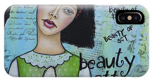 Beauty Matters Most - Inspirational Mixed Media Folk Art IPhone Case