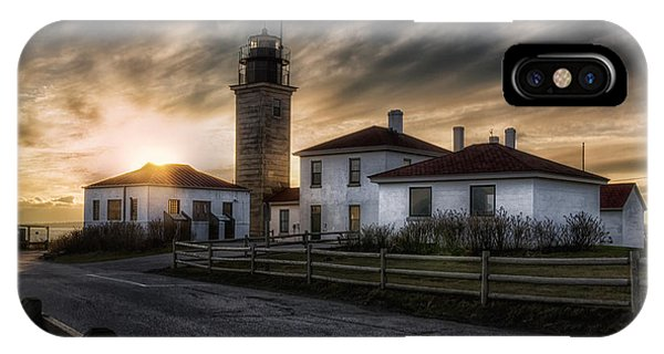 New England Coast iPhone Case - Beavertail Lighthouse Sunset by Joan Carroll