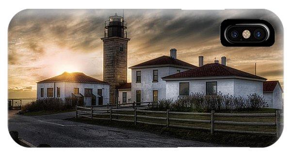 Beavertail Lighthouse Sunset IPhone Case