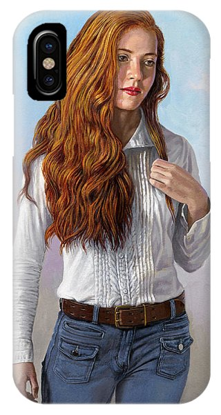 Red Hair iPhone X Case - Becca In Blouse And Jeans by Paul Krapf