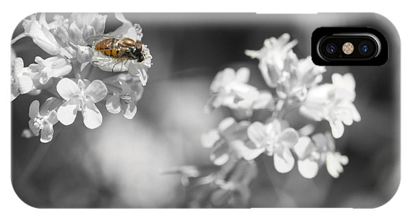 Bee On Black And White Flowers IPhone Case