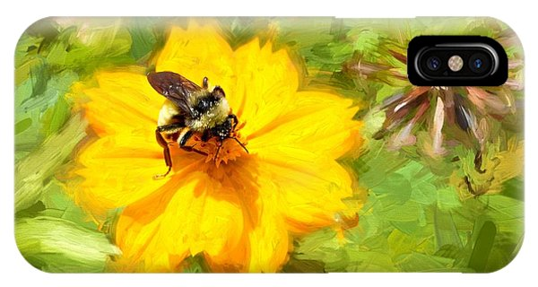 Bee On Flower Painting IPhone Case