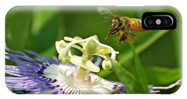 Bee On Passionflower IPhone Case