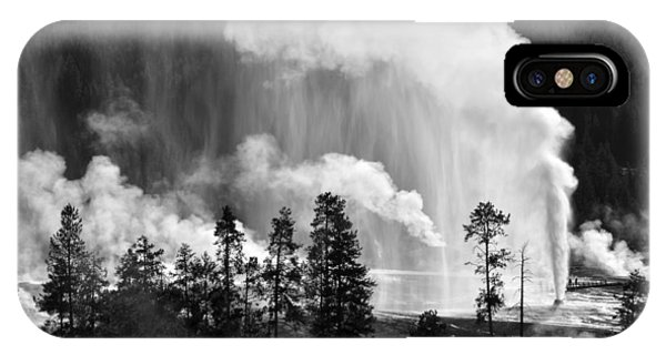 Beehive Geyser Shower In Black And White IPhone Case