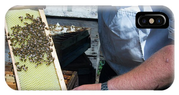 Honeybee iPhone X Case - Beekeeper Holding A Brood Frame by Louise Murray/science Photo Library
