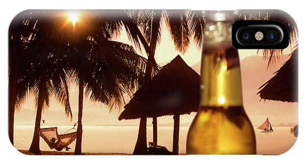 Sonne iPhone Case - Beer Bottle Against Beach With Palm by Per-Andre Hoffmann