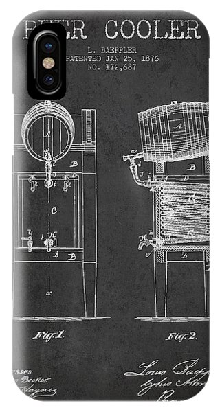 Patent Drawing iPhone Case - Beer Cooler Patent Drawing From 1876 - Dark by Aged Pixel