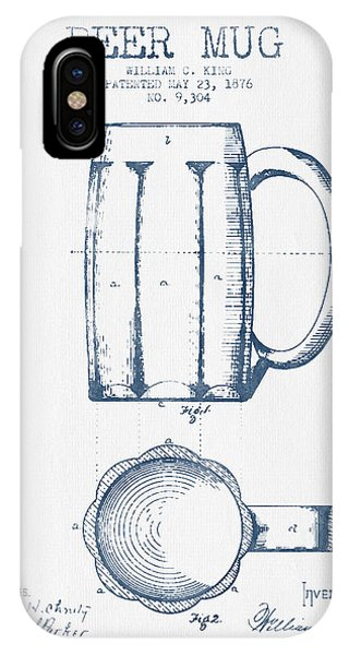 Bar iPhone Case - Beer Mug Patent From 1876 -  Blue Ink by Aged Pixel
