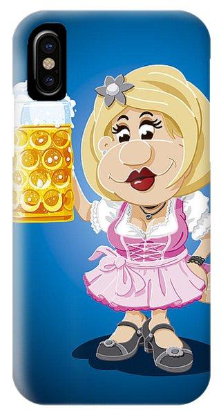 Beer Stein Dirndl Oktoberfest Cartoon Woman IPhone Case