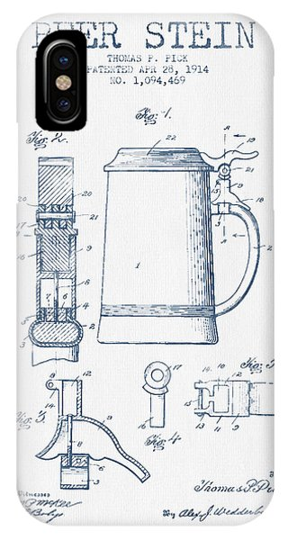 Beer Stein Patent From 1914 -  Blue Ink IPhone Case