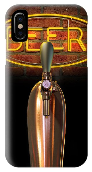 Brewery iPhone Case - Beer Tap Single With Neon Sign by Allan Swart