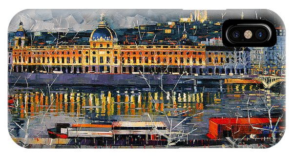 Before The Storm - View On Hotel Dieu Lyon And The Rhone France IPhone Case