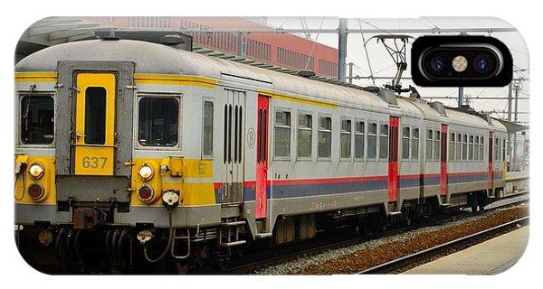 Belgium Railways Commuter Train At Brugge Railway Station IPhone Case
