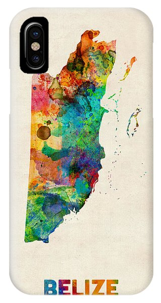 Print iPhone Case - Belize Watercolor Map by Michael Tompsett