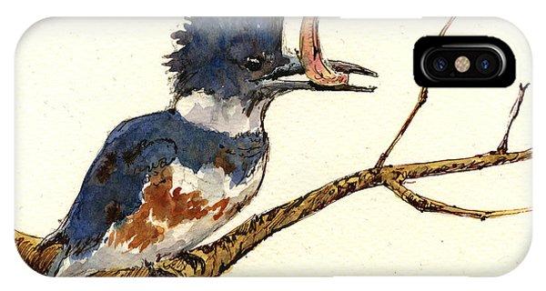 Belted Kingfisher Bird Phone Case by Juan  Bosco