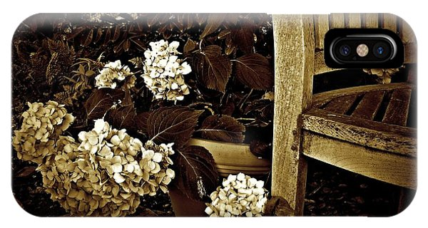 Bench With Hydrangeas IPhone Case