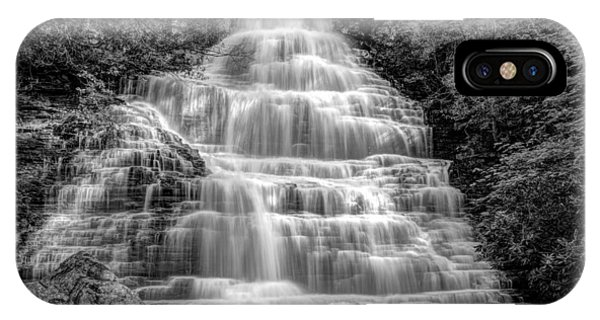 Chilhowee iPhone Case - Benton Falls In Black And White by Debra and Dave Vanderlaan