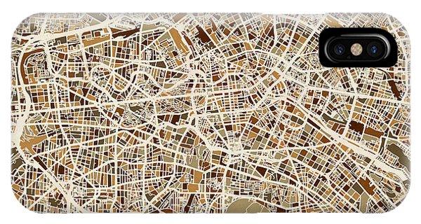 Berlin iPhone Case - Berlin Germany Street Map by Michael Tompsett