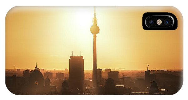 Panorama iPhone Case - Berlin - Skyline Sunrise by Jean Claude Castor
