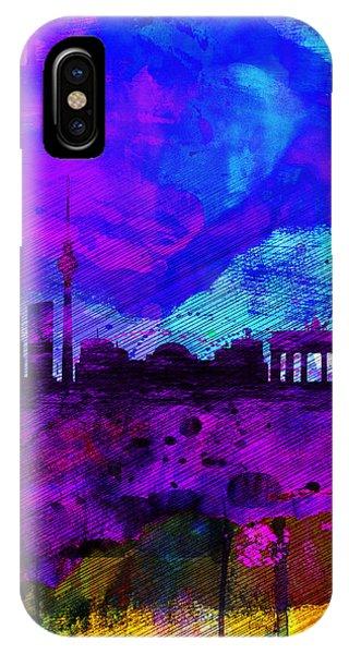 Berlin iPhone Case - Berlin Watercolor Skyline by Naxart Studio