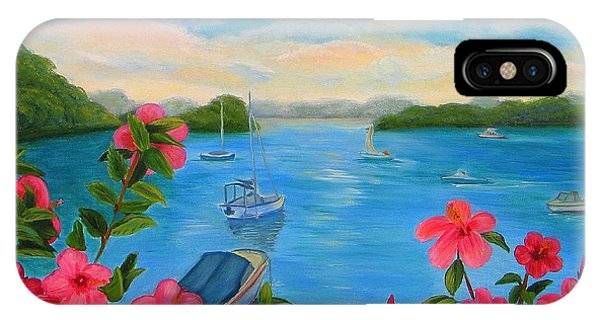 Bermuda Hibiscus - Bermuda Seascape With Boats And Hibiscus IPhone Case
