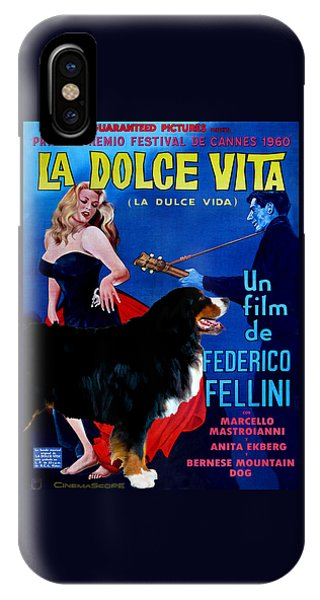 Bernese Mountain Dog Art Canvas Print - La Dolce Vita Movie Poster IPhone Case