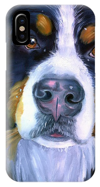 Bernese Mountain Dog In Snowfall Phone Case by Lyn Cook