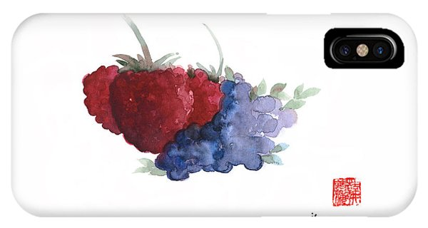 Berries Red Pink Black Blue Fruit Blueberry Blueberries Raspberry Raspberries Fruits Watercolors  IPhone Case
